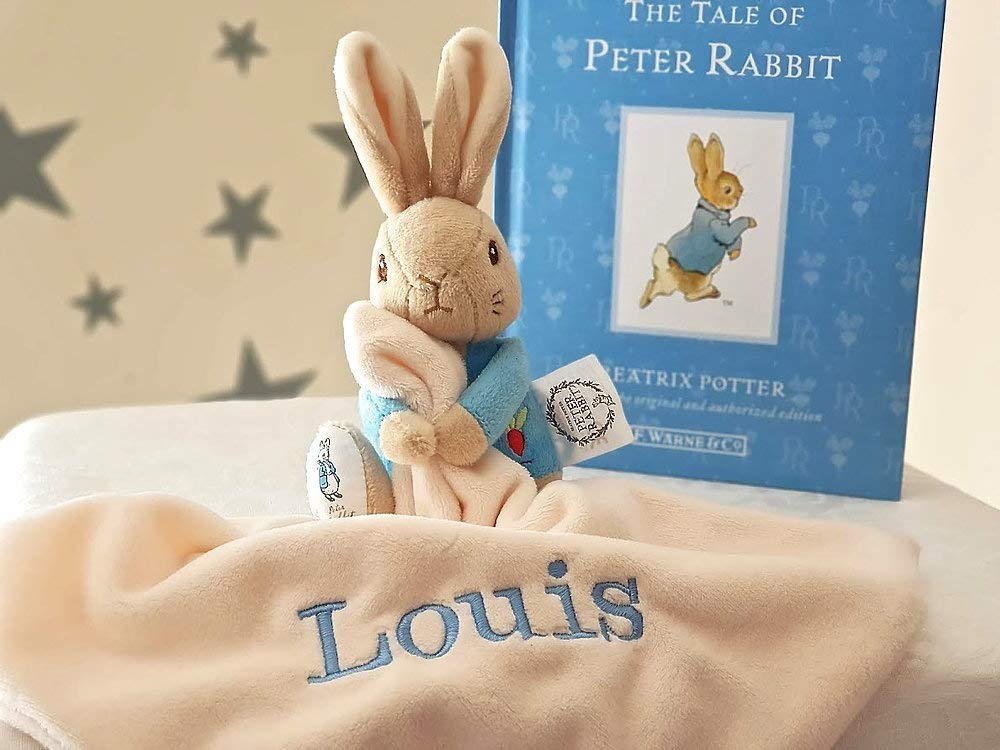 PETER RABBIT Personalised Comforter / Keepsake Baby Boy Blanket / Rattle Soft Toys / Minky Blanket / Beatrix Peter Rabbit / Newborn Gift