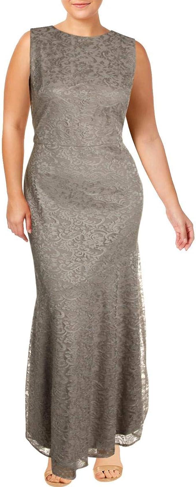 Lauren Ralph Lauren Lemony Women/'s Sequined Sleeveless V-Neck Column Gown