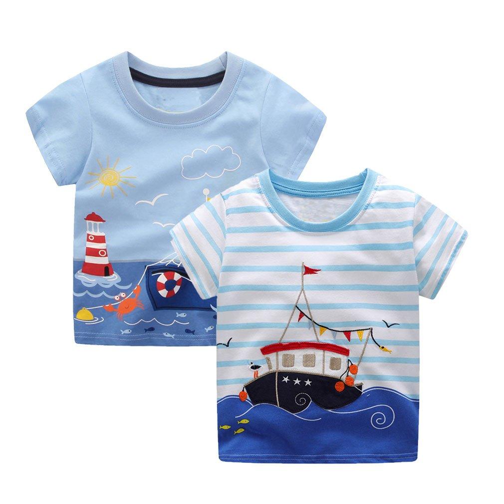 KIDSALON Little Boys Summer Cotton Strip Short Sleeve T-Shirt Clothes (2T, 2 Ships)