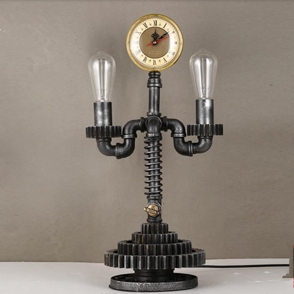 FWEF Retro-geschmiedete Eisen kreative Uhr Lampe Schlafzimmer Lampe Nachttisch Lampe Leselampe Wohnzimmer Den Office mechanische Getriebe Modellierung Lampe
