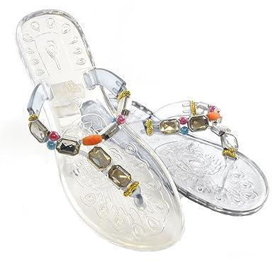 513c2d12a3b2 NEW LADIES WOMEN FLAT FLIP FLOPS JELLY SUMMER BEACH SANDAL JEWEL CLEAR SIZE  3-8  Amazon.co.uk  Shoes   Bags