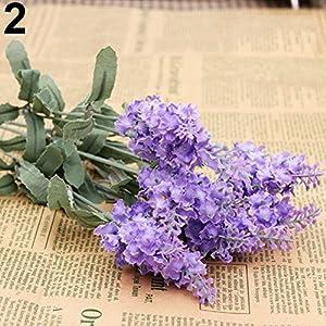 lightclub 10 Heads 1 Bouquet Faux Silk Lavender Fake Garden Plant Flower Home Decor Light Purple 58