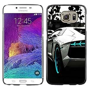 YiPhone /// Prima de resorte delgada de la cubierta del caso de Shell Armor - B & W AZUL AVENTADOR - Samsung Galaxy S6