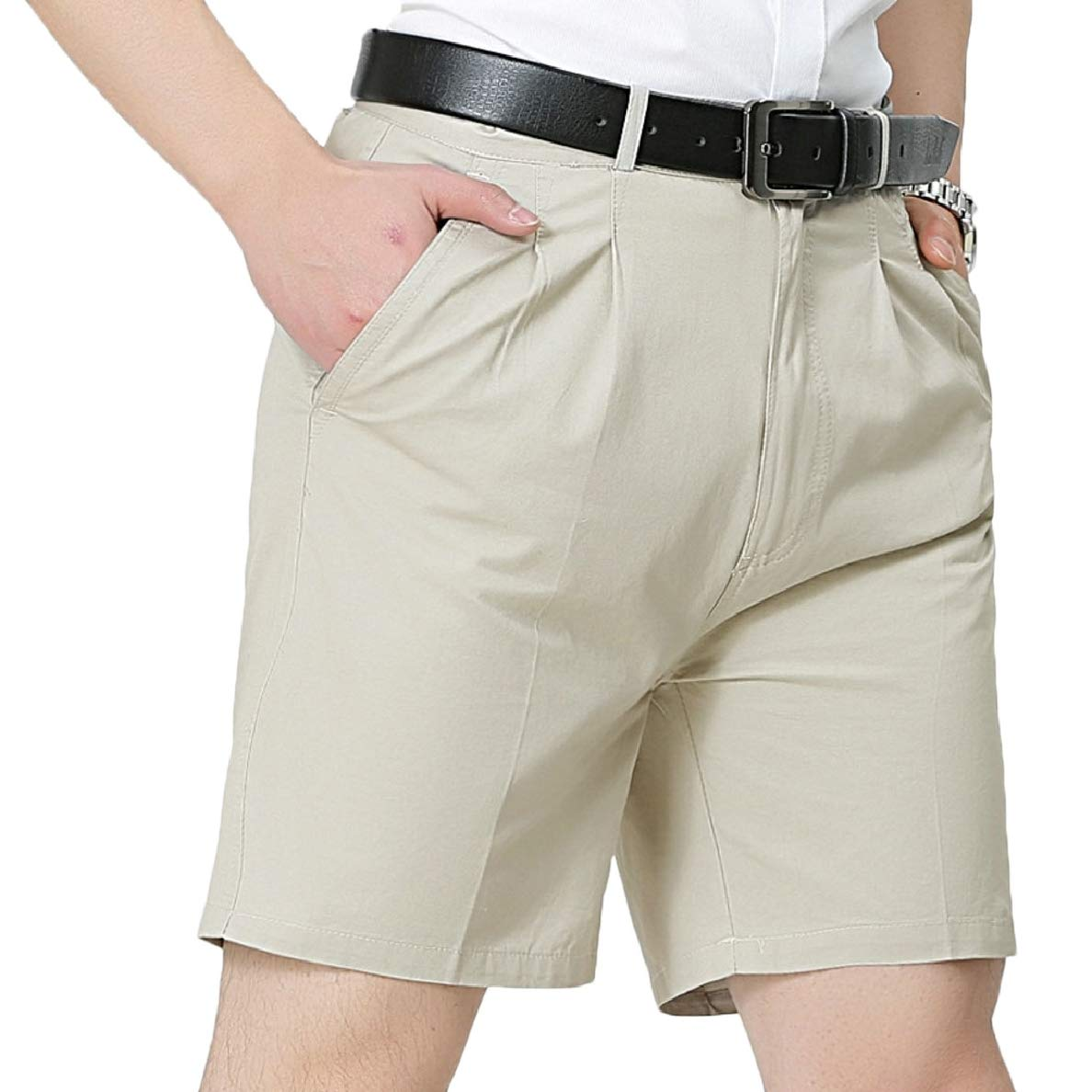 pujingge Mens Office OL Flat Front Solid Colored Classic Fit Short Pants