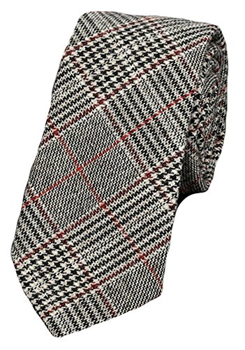 Flairs New York Flannel and Tweed Collection Neck Tie (British Grey / Red [Herringbone])