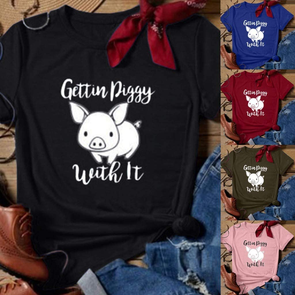 SERYU Funny T Shirts Pig Print New Summer Women Fashion Short Sleeve Top Casual Tee A Black