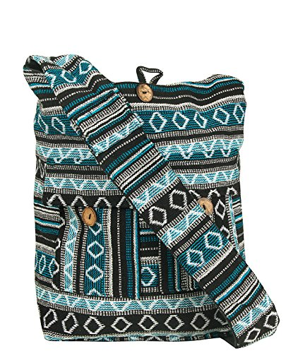 Large Woven Blue Handmade Shoulder Hobo Bag School Market Laptop Woven Women Fashion Boho Summer Beach Colorful Cotton Multi pockets Travel Tribal Ethnic Bohemian (Geometric Blue) - Jacquard Hobo Style Bag