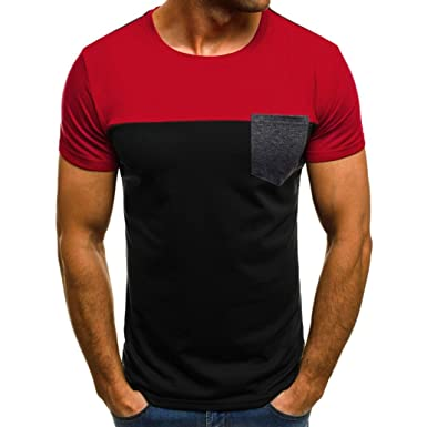 447187642 Amazon.com: WM & MW Muscle Tee,Men T Shirts Slim Fit Short Sleeve Patchwork  Pocket T-Shirt Casual Blouse Top: Clothing