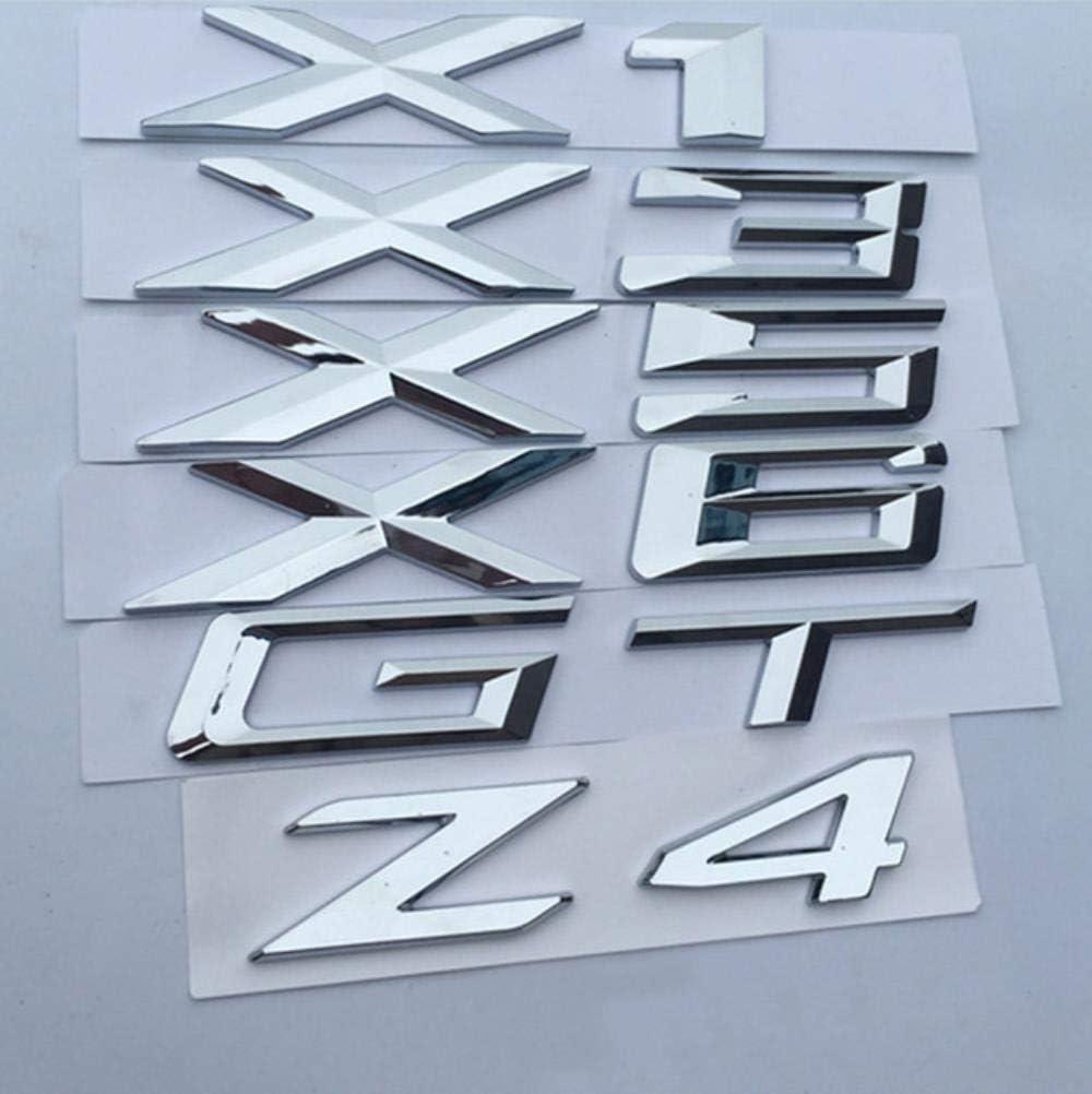 Negro Mate GT Emblema del n/úmero de Letra para BMW X1 X3 X5 X6 GT Z4 Trunk Nombre del Modelo Insignia Car Styling Reposici/ón Pegatina Cromo Plata Mate Negro
