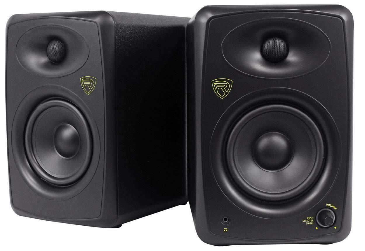 ペア Rockville ASM5 5インチ 200w パワー USB スタジオ品質 ブラック 本棚 スピーカー   B07HD5M7JP