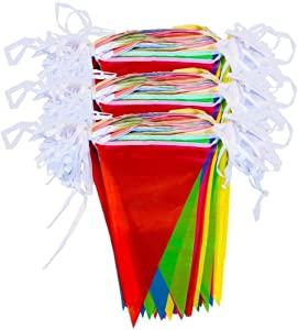 zagtag 375 Feet Pennant Banners String Flag Banner, 300Pcs Nylon Fabric Pennant Flags for Grand Opening,Party Festivals Decorations