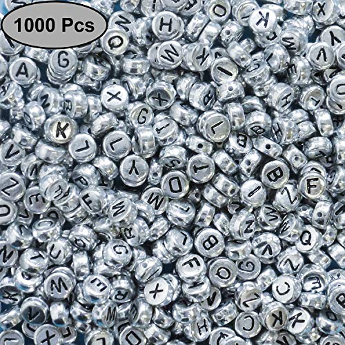Alphabet Letter Beads (1000 Pcs) - 6mm A-Z Acrylic Letter Beads Coated with Silver Metal - Round Alphabet Beads for Jewelry Making, Bracelets, Necklaces, Key Chains and DIY Crafts