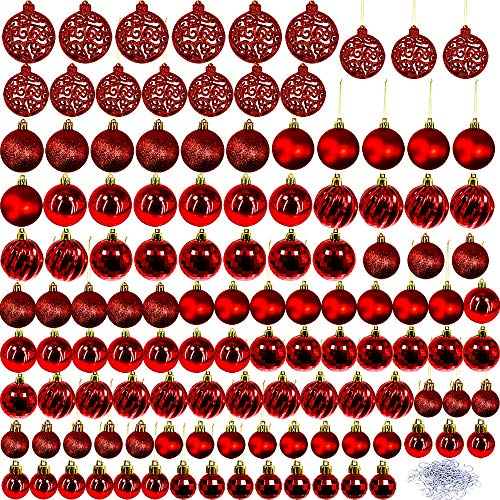 Winlyn 120 PCS Assorted Red Christmas Ball Ornaments Adornos De Navidad Decorations Shatterproof Plastic Baubles Christmas Tree Skirt Outdoor Decor Metal Hooks White Gift Box Included (White Baubles Tree)