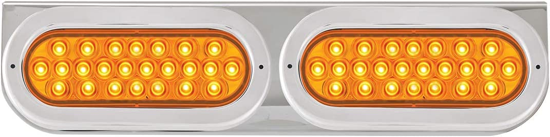 GG Grand General 89157 Stainless Steel L Bracket with 2 Oval Pearl Amber LED Light and Chrome Plastic Rim