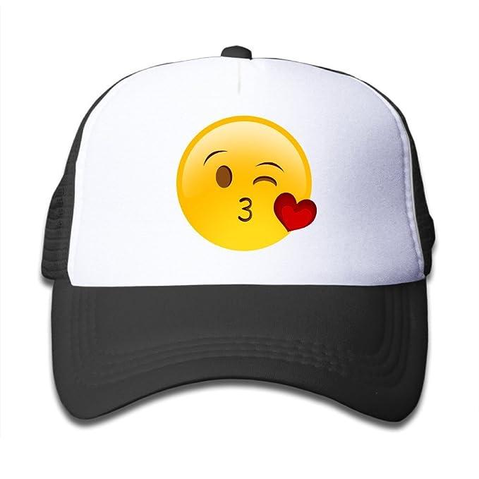 Amazon.com: Duola Flying Kiss Emoji Girls Hat Running Hat Lightweight Mesh Flexfit Black: Clothing