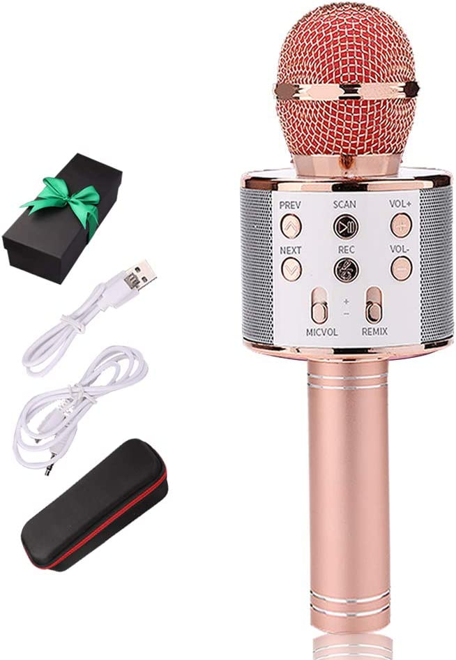 Karaoke Bluetooth Wireless Microphone 3 in 1 Portable Handheld Mic Speaker Machine for Company Meeting Family Kids Party - Compatible iPhone, Android, iPad, PC and All Smartphones
