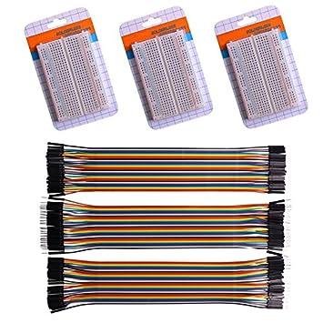 3 Paquetes De 400 puntos soldadura Plug-in experimento Breadboard + 120pcs Jumper Cables Cables