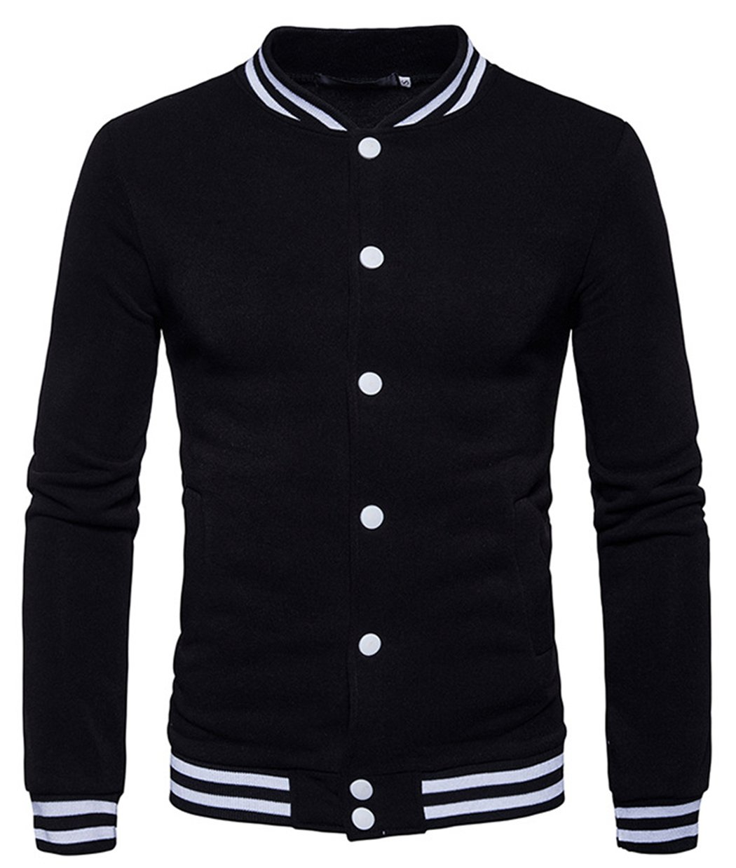 HOP FASHION Mens Casual Long Sleeve Baseball Collar Button Down Varsity Jacket Elastic Hem Lightweight Sport Cotton Coat with Pockets HOPM185-Black-L by HOP FASHION