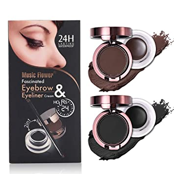 c16e7b85295 Amazon.com   4 in 1 Gel Eyeliner and Eyebrow Powder Kit Brown Black  Water-proof with Eye Liner Brush   Beauty