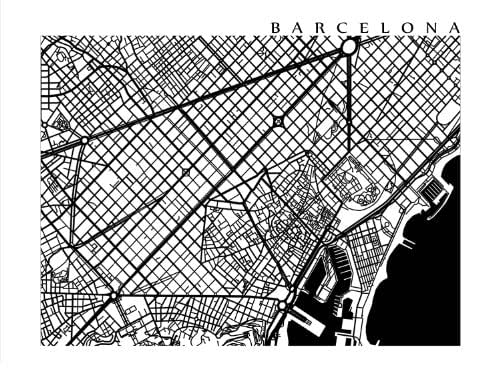 Amazon.com: Barcelona Black and White Map Print: Handmade