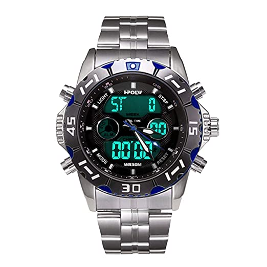Relojes Hombres Negros Reloj Militar Impermeable Deportivos Digital Analogicos Hombre Reloj de Pulsera Cronógrafo Multifunción LED Alarma Día Fecha ...