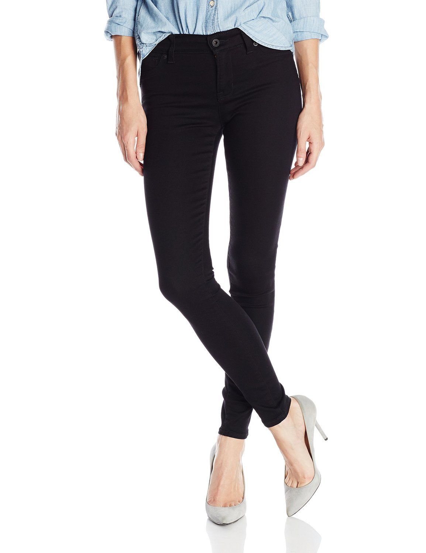 GESO J&C Premium Black/Blue/Dark Blue Soft Stretch Women's Denim Jeans Skinny Pants (9, Black)