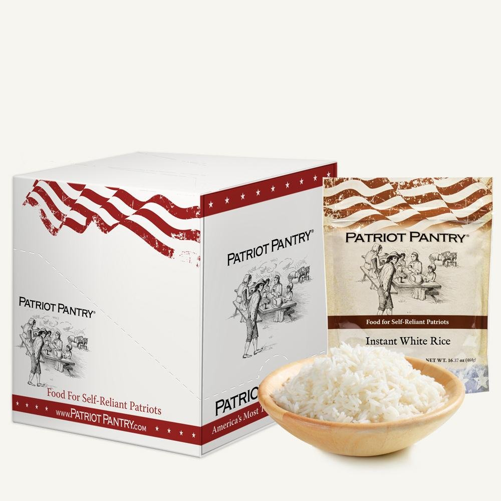 Patriot Pantry Instant White Rice Case Pack (60 servings, 6 pk.) Bulk Emergency Storage Food Supply, Up to 25-Year Shelf Life