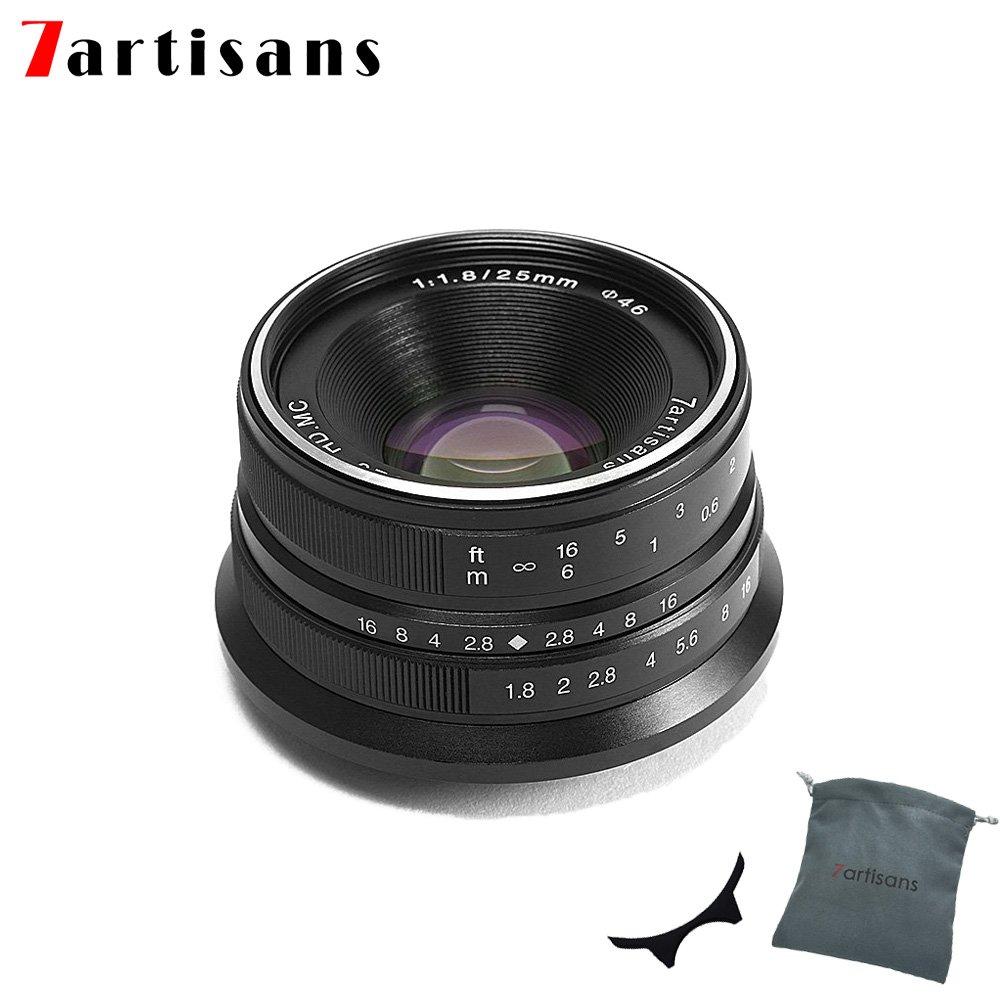 7職人25 mm f1.8手動フォーカスプライム固定レンズfor Canon eos-mマウントm1 m2 m3 m5 m6 m10 (ブラック)   B07F9V5W9G