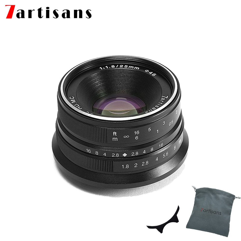 7artisans 25mm F1.8 APS-C Manual Fixed Lens for Fuji Cameras X-A1 X-A10 X-A2,X-A3 X-AT X-M1 XM2 X-T1 X-T10 X-T2 X-T20 X-Pro1 X-Pro2 X-E1 X-E2 X-E2s-Black