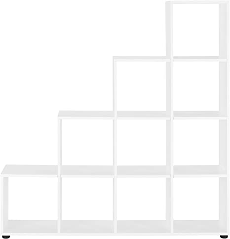 Estanter/ía de pie 138 x 142 x 29cm en.casa Armario Estanter/ía en Forma de Escalera estilosa Estanter/ía de Almacenamiento con 10 compartimientos Blanco