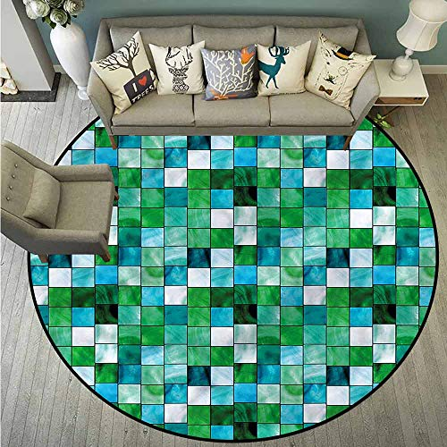 - Custom Rugs,Emerald,Mosaic Square Tiles Aquatic,Rustic Home Decor,3'3
