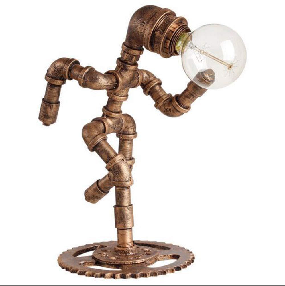 Industrielle Industrielle Industrielle Retro-Eisen-Wasserleitungs-Roboter-Tischlampen, E27 Edison-Beleuchtungs-Schreibtisch-Licht, kreative industrielle Bar-Dekoration Steampunk-Schlafzimmer-dekorative Nachttischlampe f78ab1