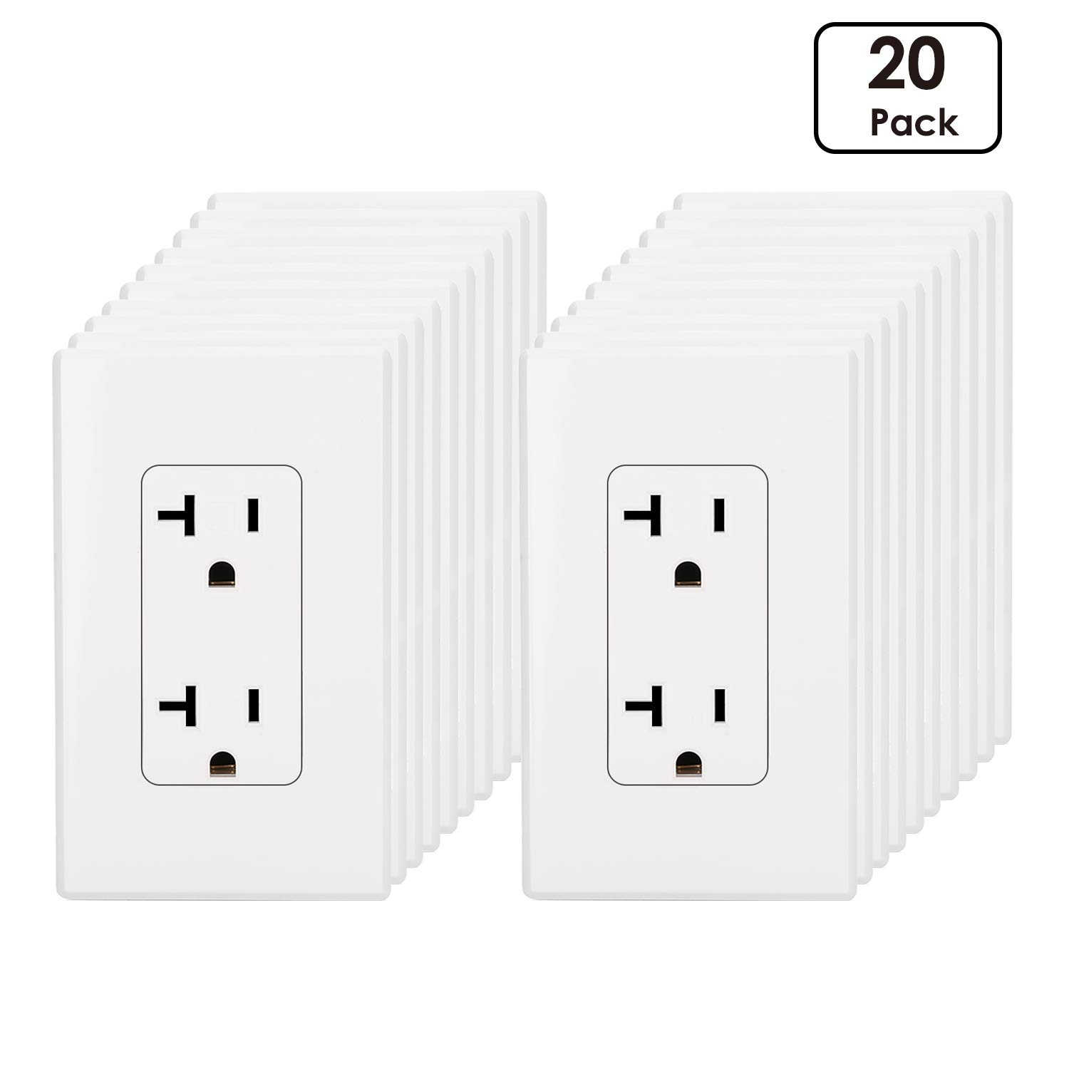 [20 Pack] BESTTEN 20A Decor Receptacle Standard Duplex Electrical Wall Outlet, Screwless Wall Plates Included, Residential and Commercial Grade, UL Listed, White