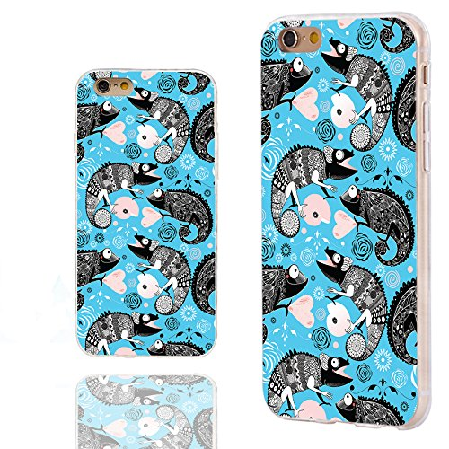 Full Case Chameleon (iPhone 6s Case,iPhone 6 Case,Case for iPhone 6 6s 4.7 Inch,ChiChiC [Arty Series] Full Protective Slim Flexible Durable Soft TPU Cases,Funny Cute Cartoon Animal Black Chameleon Lizard on Teal Blue)