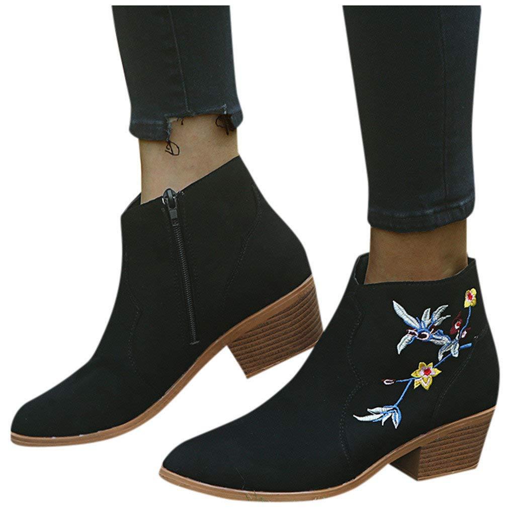 Veodhekai Women Flats Shoes Low Heel Booties Printing Pointed Toe Roman Shoes Booties Comfortable Students Elegant Black by Veodhekai