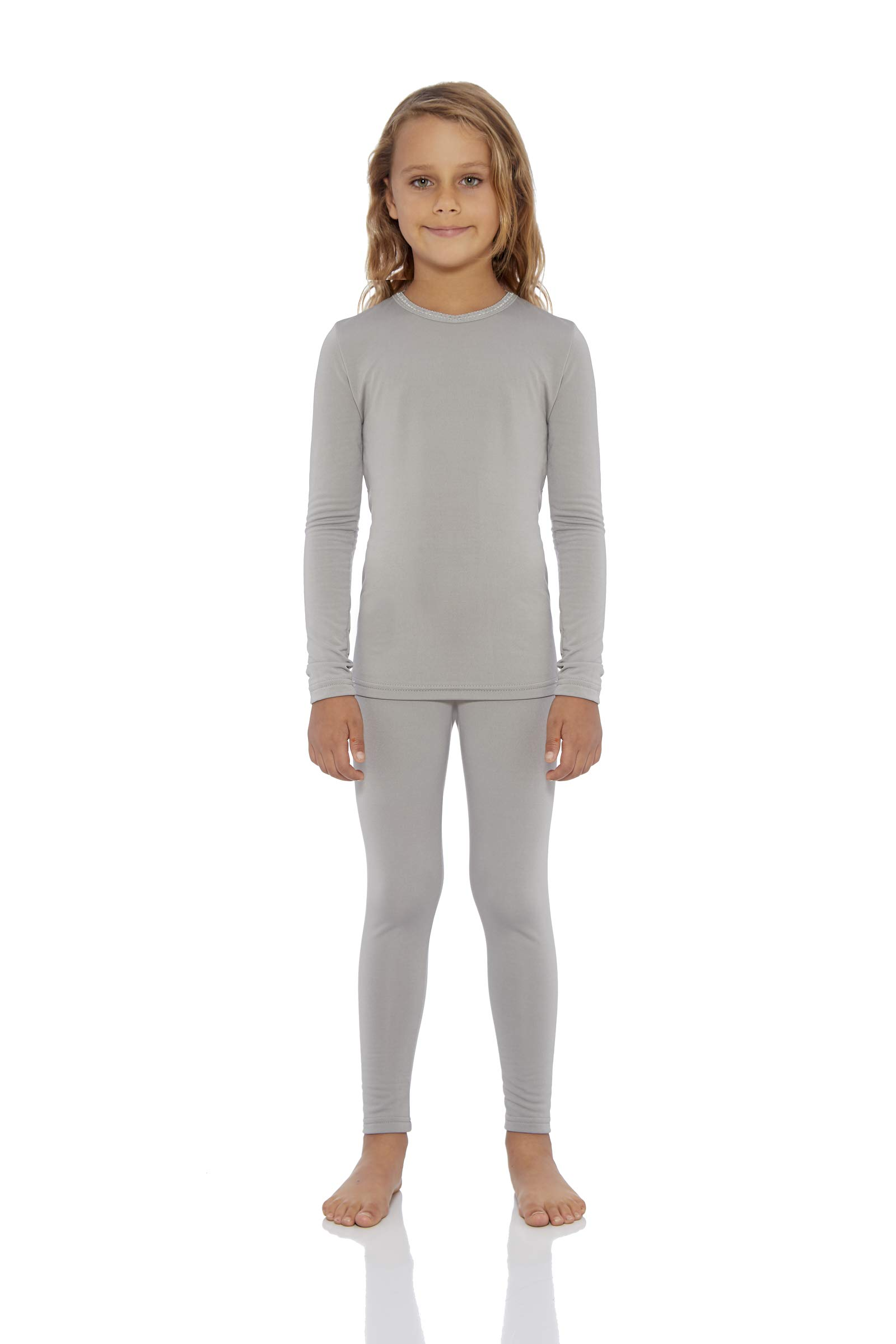 Rocky Girl's Smooth Knit Thermal Underwear 2PC Set Long John Top and Bottom Pajamas (Grey, XXS) by Rocky