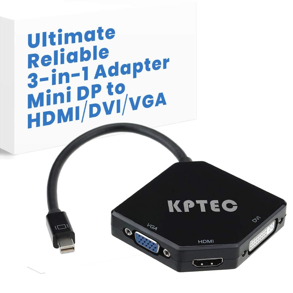 KPTEC Ultimate 3-in-1 Mini DP (Thunderbolt) to 4K UHD HDMI, DVI, VGA Adapter, Compact 1080p Mini Display (mDP) Converter for Macbook Air, Macbook Pro, iMac, iMac Mini, Surface Pro Series, Glossy Black by KPTEC