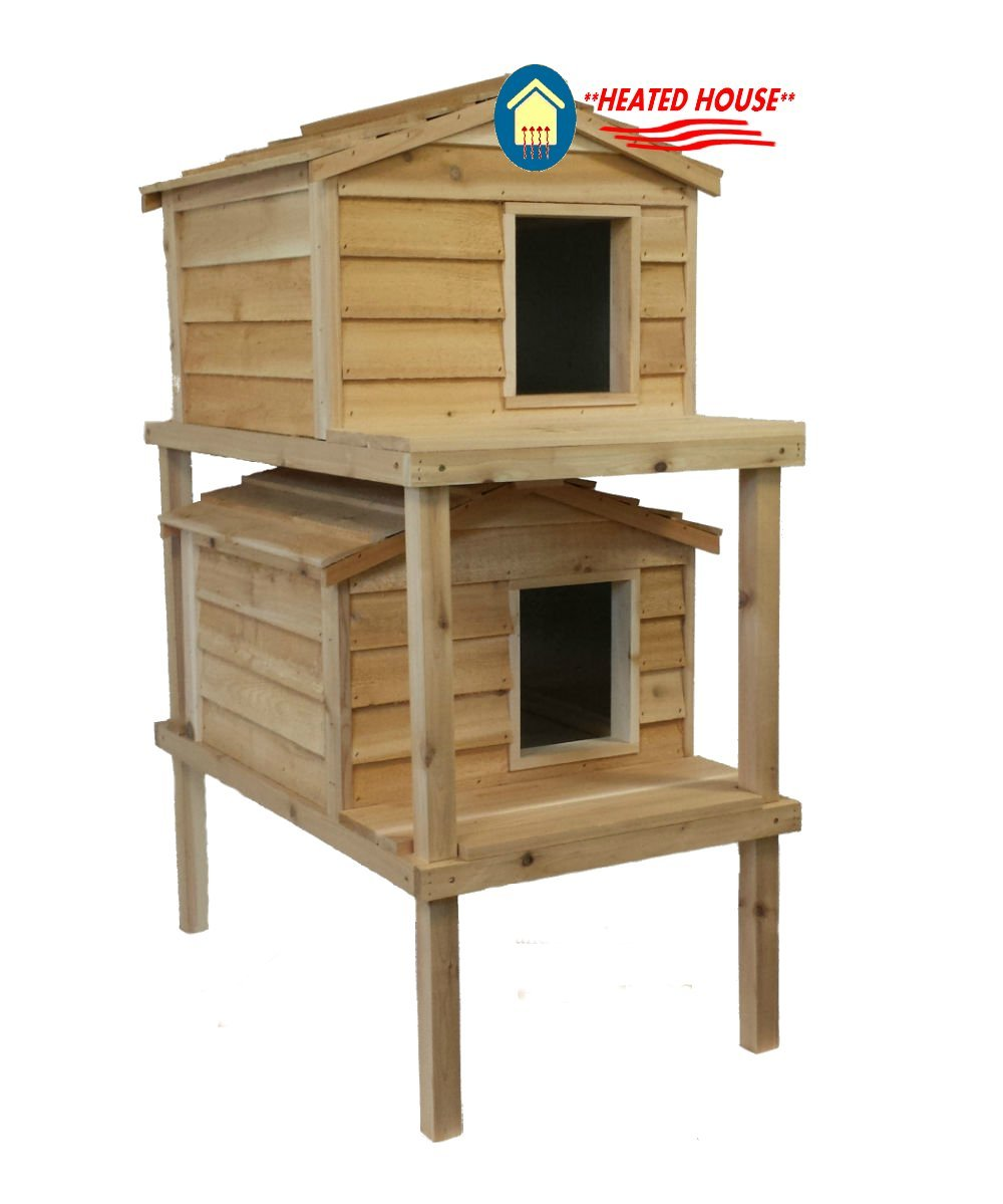 Large Heated Double Decker Cat House