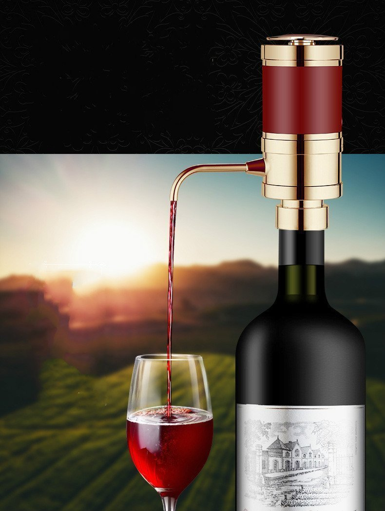 V-EWIGE Electric Wine Aerator Dispenser Pump - Portable and Automatic Bottle Breather Tap Machine - Air Decanter Diffuser System Convenient Spout Gold by V-EWIGE