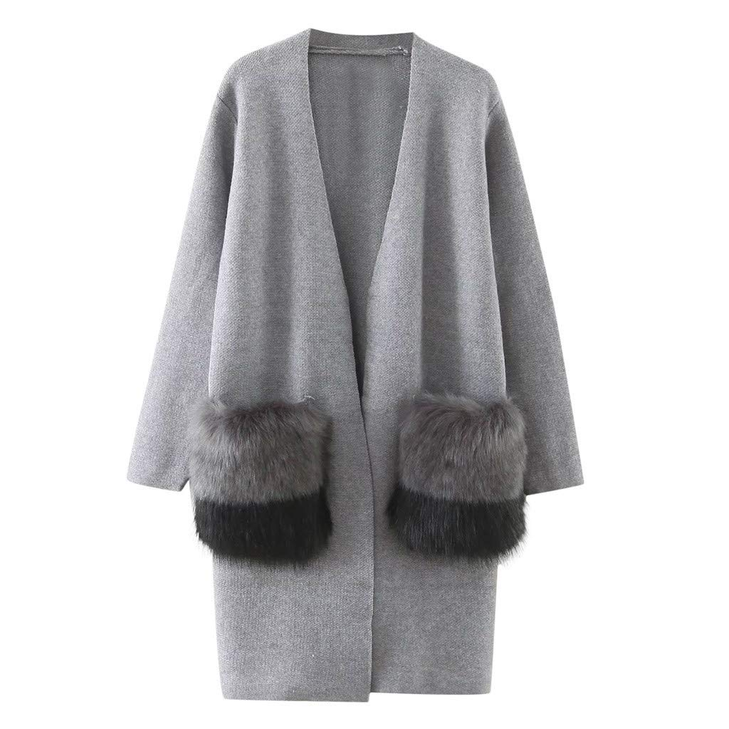 Redacel Women's Winter Cardigan Long Sleeve Solid Color Rabbit Hair Pocket Stitching Knit Sweater Top(One Size,Gray)