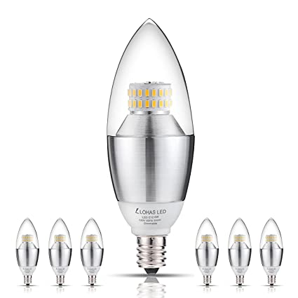 Dimmable 60 Watt Equivalent Candelabra LED Bulbs(UL Listed), LOHAS Daylight  White 5000K