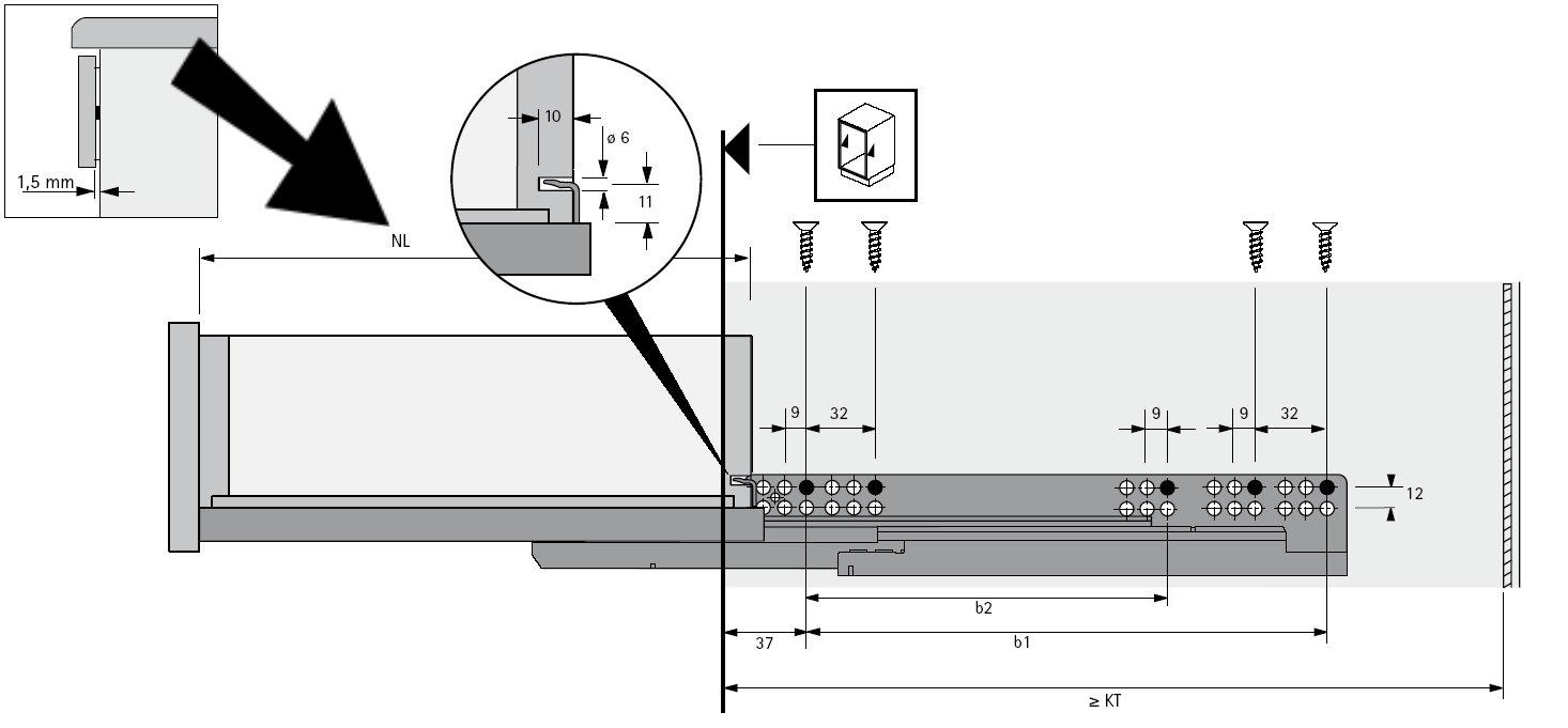 Hettich Vollauszug Quadro V6 mit Silent System f/ür Holzschubk/ästen NL 600 mm