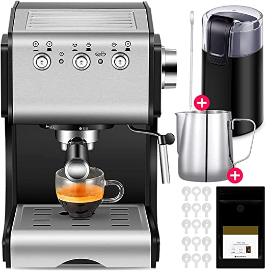 DGYAXIN Máquina de Espresso, Cafetera Espresso Steam & Pump 20 Bar de presión/1.3 litros/1050 vatios/Regular libremente Vapor/Espuma de Leche de Vapor para el Hogar/Oficina - Negro: Amazon.es: Hogar