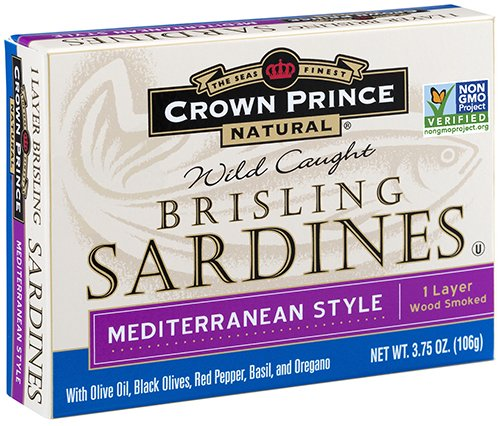 Crown Prince Natural One Layer Brisling Sardines - Mediterranean Style, 3.75-Ounce Cans (Pack of 12)