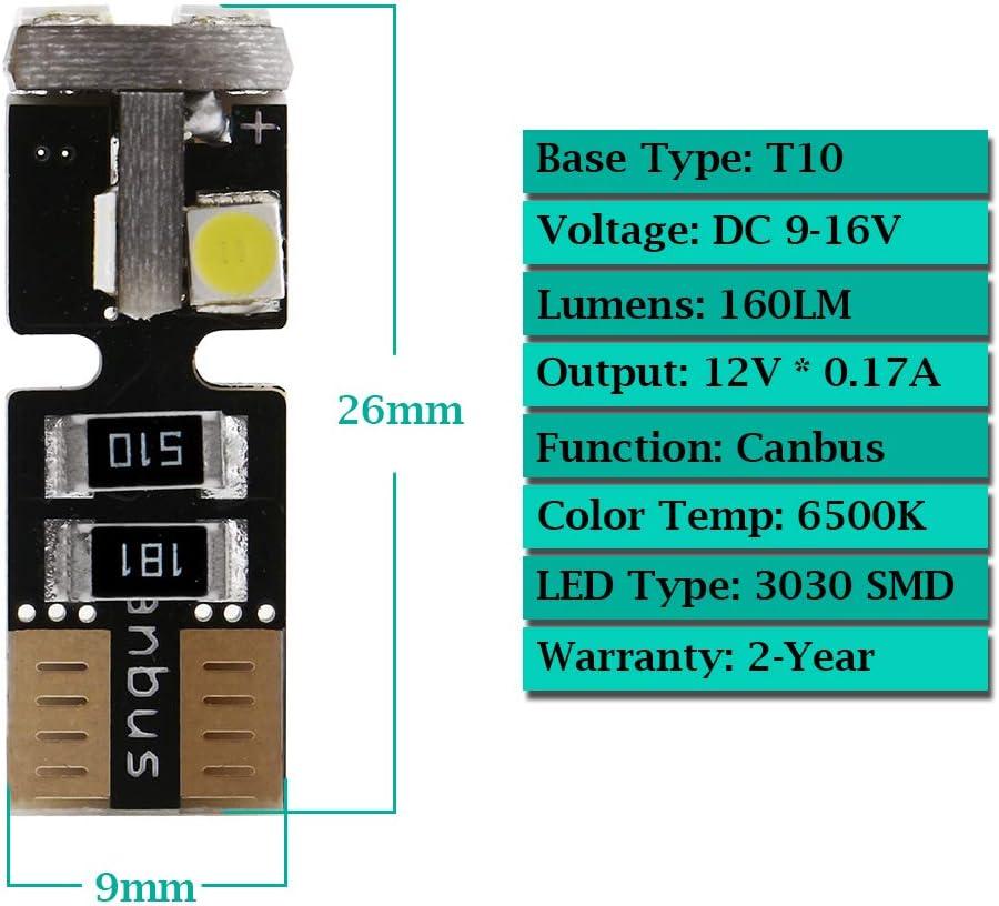 GLL 10pcs Blanc T10 501 LED Canbus 194 168 W5W 3030-6SMD Wedge T10 Ampoules Pour Voiture D/ôme Int/érieur Tableau de Bord du Tronc de la Plaque Dimmatriculation