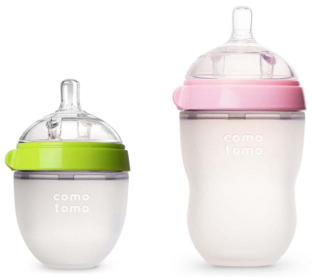 Comotomo Natural Feel Baby Bottles Set, 5oz Slow Flow and 8oz Medium Flow, Pink