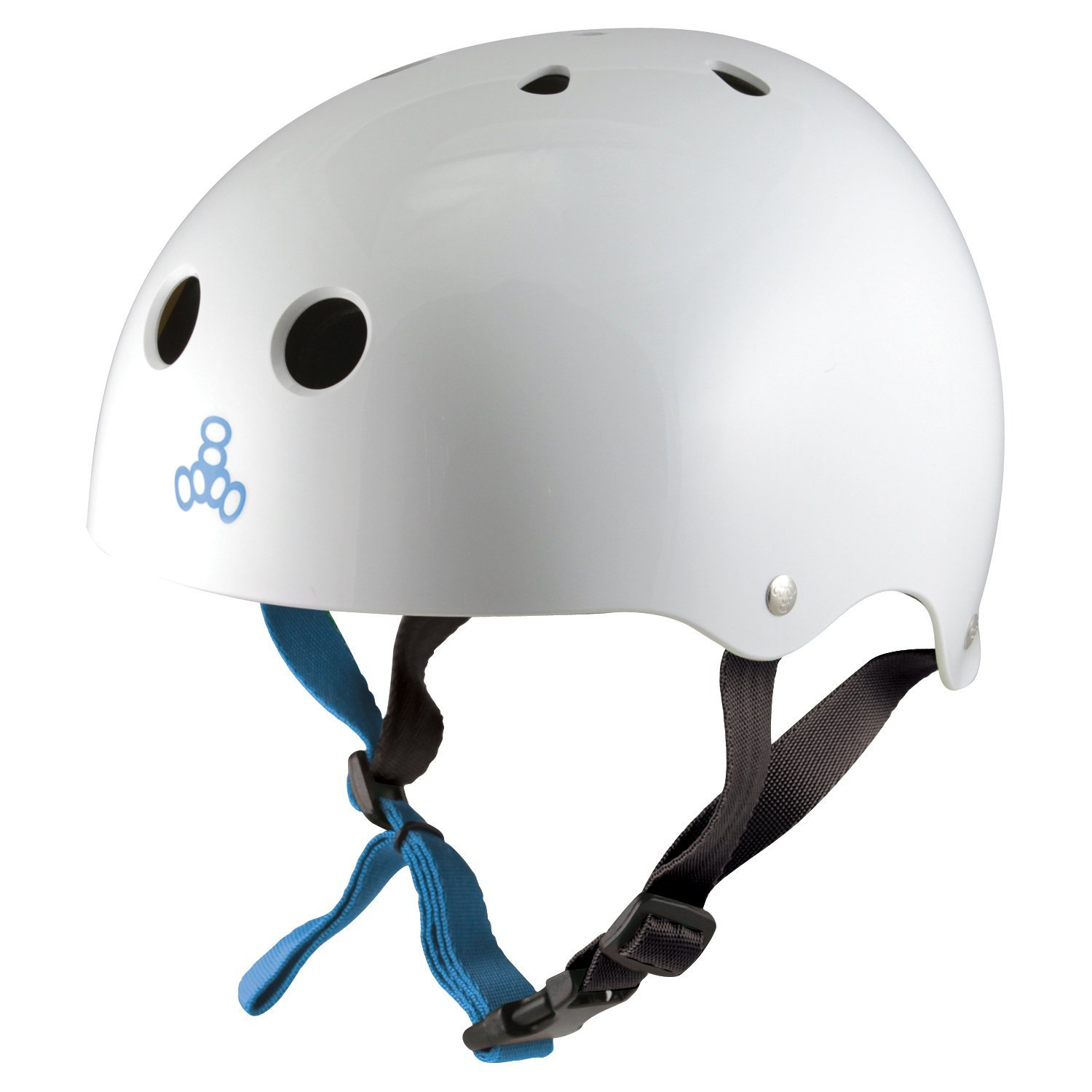 White Glossy Triple Eight Sweatsaver Halo Water Helmet for Wakeboarding and Waterskiing 2018 Model X-Small