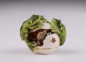 Keren Kopal Frogs on Egg Figurine Trinket Box Decorated with Swarovski Crystals Unique Handmade Gift Home Office Decor