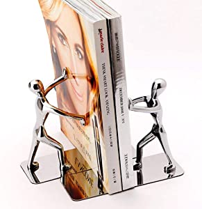 Stainless Steel Bookends - Heavy Duty Kung Fu Man Bookends, Nonskid Humanoid Bookends for Home Office Llibrary School Decorative bookends, by Ashnna(1 Pair)