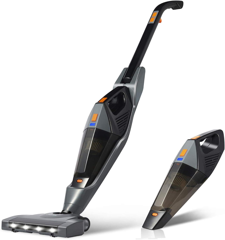 Hikeren - Escoba eléctrica 2 en 1, aspirador inalámbrico, potente 12000 PA, aspirador escoba, carga independiente, dispositivo portátil desmontable para casa/coche/pelo de animales domésticos: Amazon.es: Hogar